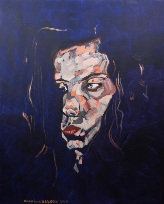 Jeune Femme sur Fond Violet Painting Nicolas Osborn