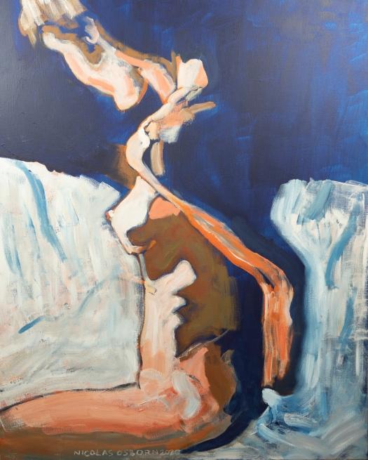 Femme Nue sur Fond Bleu Painting Nicolas Osborn