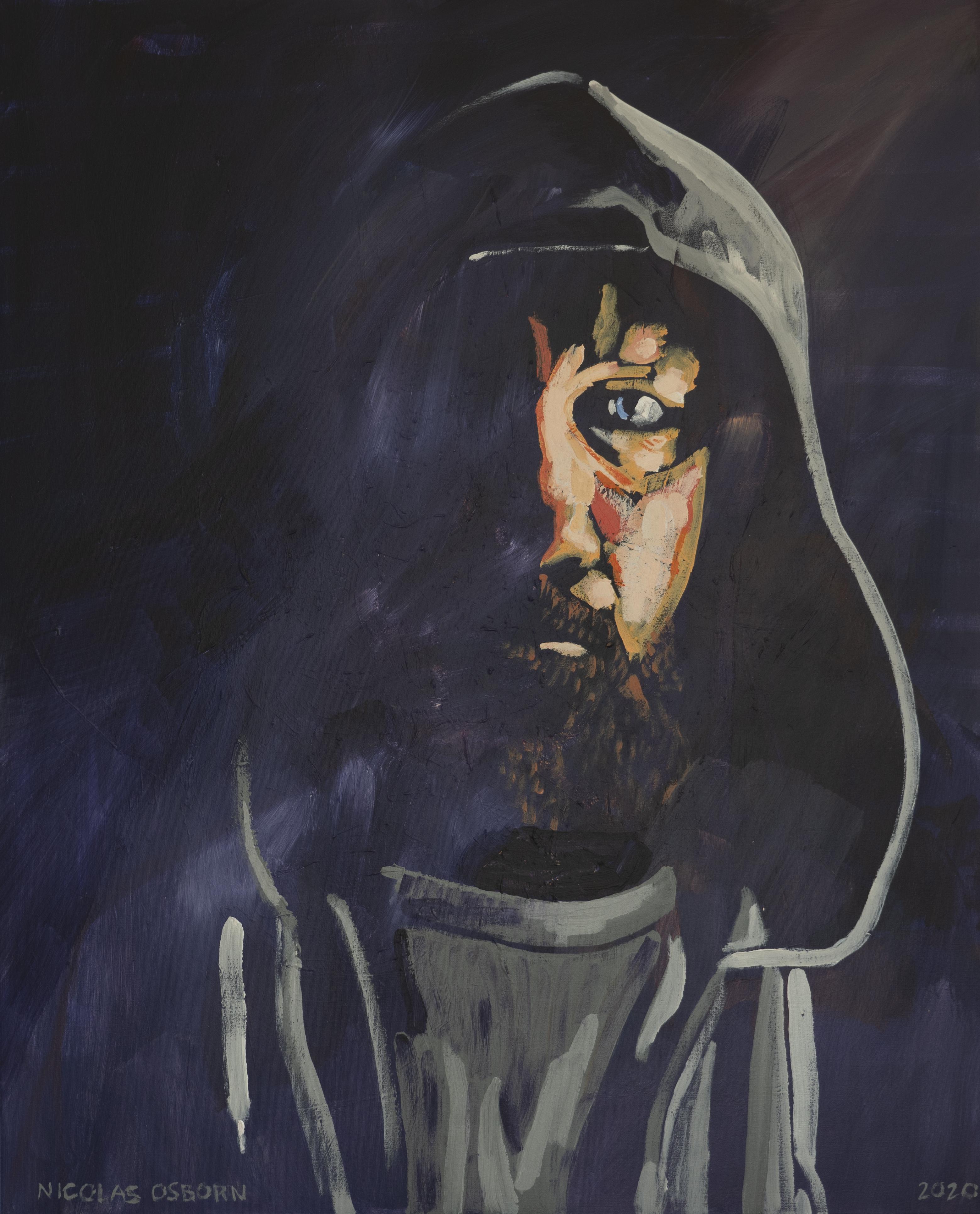 Homme a la Capuche sur Fond Violet Painting Nicolas Osborn