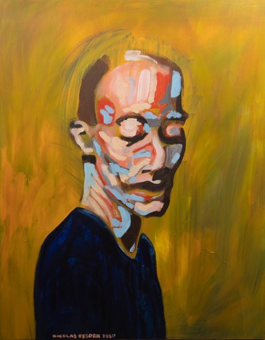 Homme Bleu sur Fond Jaune Paintings Nicolas Osborn