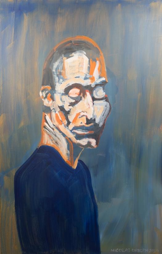 Homme Bleu sur Fond Vert Painting Nicolas Osborn