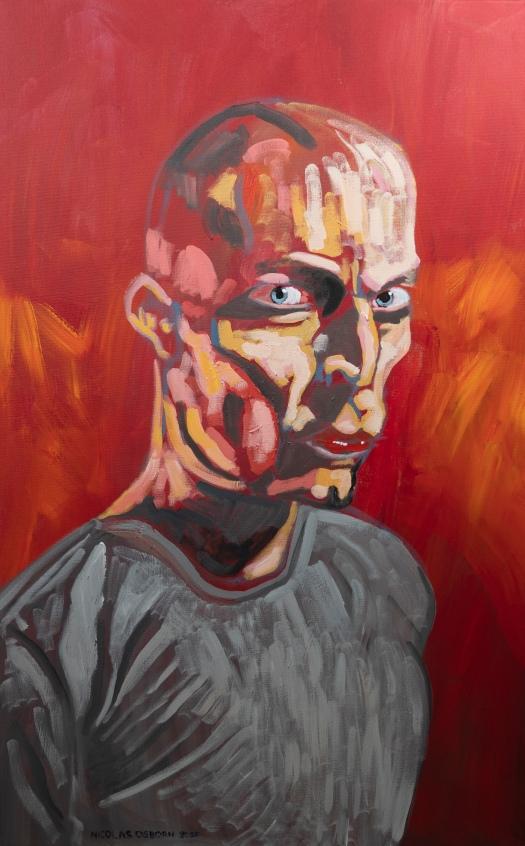 Homme sur Fond Rouge Painting Nicolas Osborn