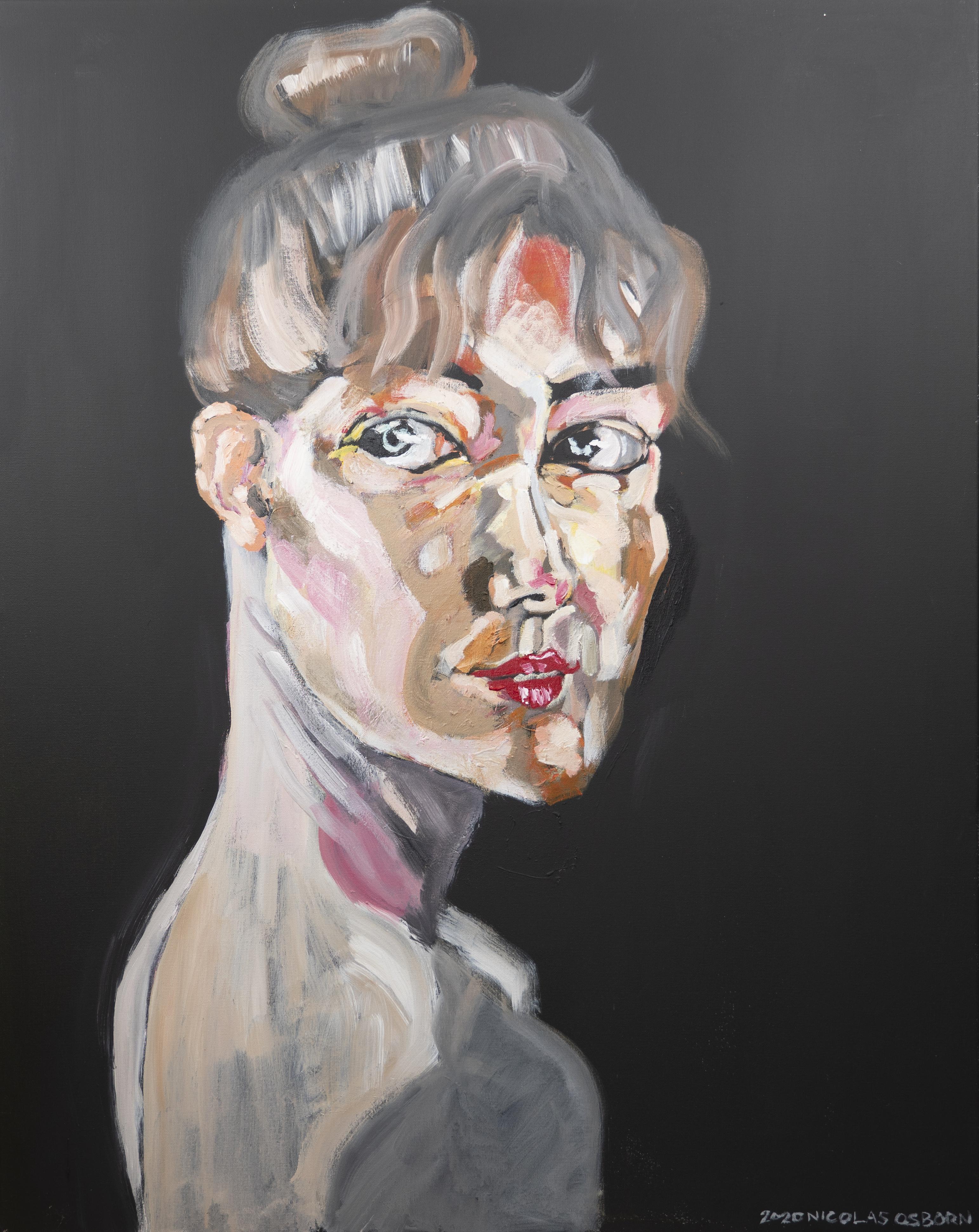 Jeune Femme sur Fond Noir Painting Nicolas Osborn