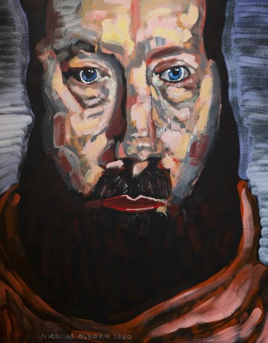Homme sur Rayure Blanc Painting Nicolas Osborn