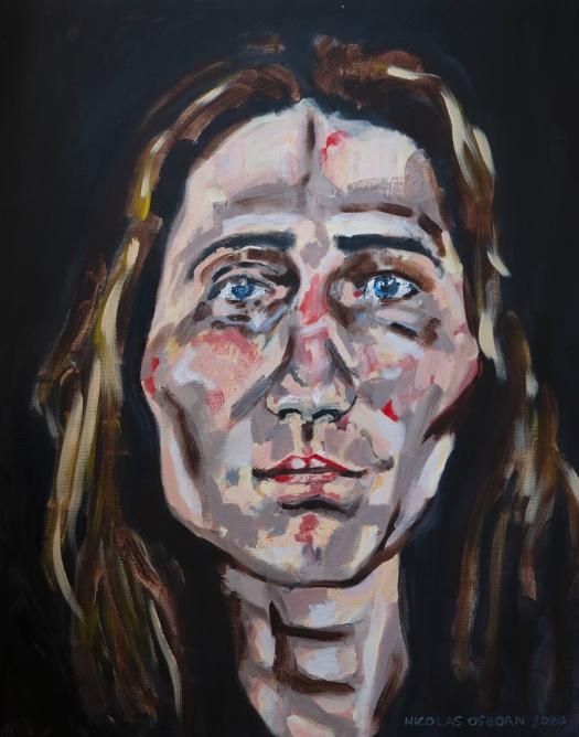 Jeune Femme au Regard sur Fond Noir Painting Nicolas osborn